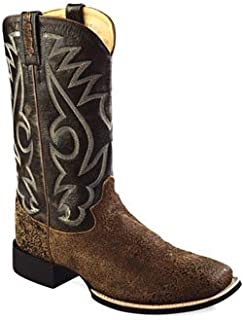 c2adf10103c Old West Golden Mens Crackle Leather 12in Broad Square Toe Cowboy Boots