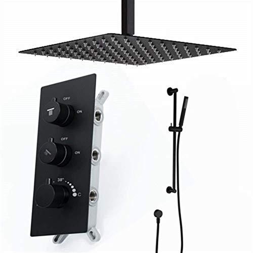 ZJN-JN Ducha de Mano Oculta la Ducha termostática Cabeza Sistema Cuadrado de Lluvia Conjunto Grifo, de fácil instalación (Color: Negro) Sistemas de Ducha