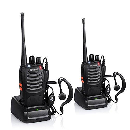 Walkie Talkie Recargable 16 Canales UHF 400-470MHz CTCSS DCS Talkie walkie con el Auricular Incorporado Antorcha de LED y Cargador USB (2 PCS)