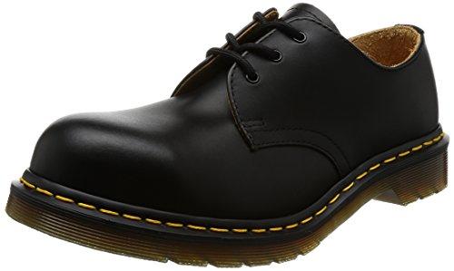 Dr. Martens, 1925 5400 3-Eye Fashion Steel Toe Leather Shoe for Men and Women, Black Fine HaircellL, 12 US Men/13 US Women