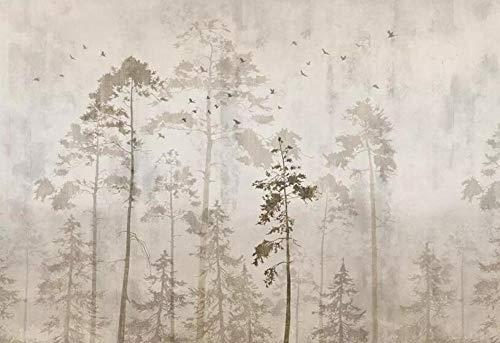 Fotobehang gepersonaliseerd hout wit en zwart natuur landschap behang woonkamer TV achtergrond 3D About 300*210cm 3 stripes