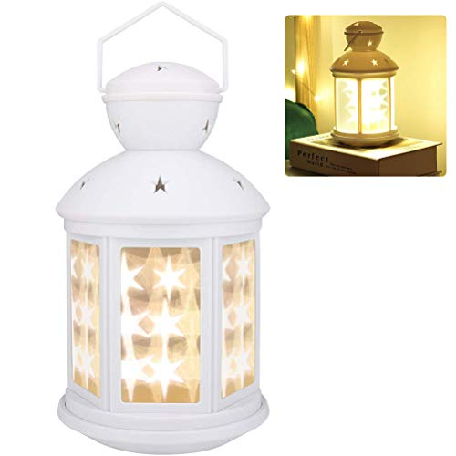 Weesey Decoratieve lantaarn op batterijen, led-vloerlamp, nachtlampje, festival, voor binnen en buiten, tafeldecoratie