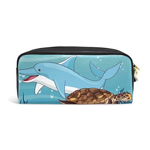 Delfin-Schildkröten-Etui für Schüler, Stiftehalter, Aufbewahrungstasche für Schreibwaren, Kreative Kosmetik, Make-up-Tasche, Geschenk, Büro, Schule, Zubehör für College Mädchen, Erwachsene