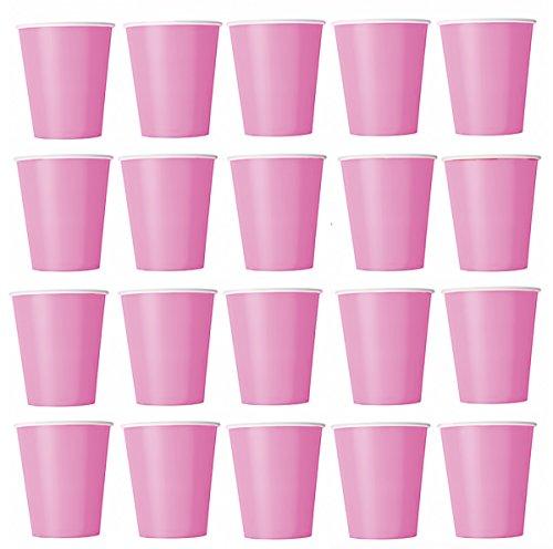 100 x Becher Pink, Rosa Einwegbecher für Kaltgetränke und Heißgetränke aus Pappe umweltfreundlich, Hochzeit, Geburtstag, Kaffeebecher, Picknick, Garten, Party, Grillen (Pink)
