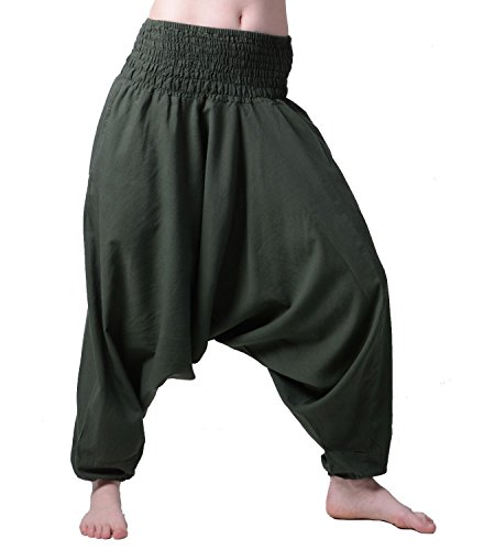 KUNST UND MAGIE Unisex Orientalische Haremshose Pluderhose Pumphose, Farbe:Army Green