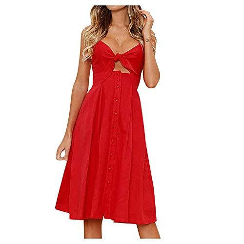 duanxiu Women Fall Dresses Sling V-Neck Spaghetti Strap Button Down Midi Dress Boho Dresses(Non-Adjustable Straps) Red