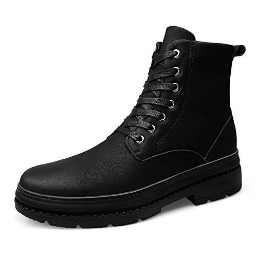 DANJIA Heren Enkel Laarzen Casual Higt-top Soft echt leder Round Top Lacing Boots (Warm Velvet optioneel) (Color : Matte black, Size : 45 EU)