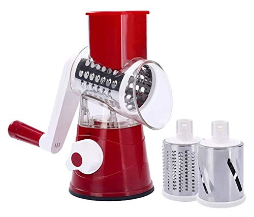 TYUIOO Vegetable Cutter Kitchen 3 in 1 Rolling Vegetable Cutter Hand Rotating Peeler Fruit Slicer Shredder Manual Vegetable Grater Suitable for Kitchen Potato Carrot Apple Cheese (Red) (Color : Red)