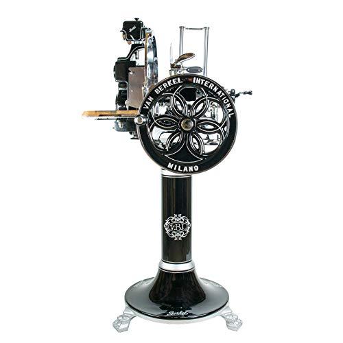 Palatina Werkstatt ® exklusive Berkel Volano B114 | schwarz | manuelle Aufschnittmaschine mit blütenverziertem Schwungrad | + Berkel-Standfuß | speziell angefertigtes Schneidebrett