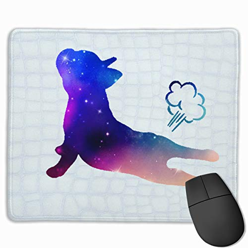 Mouse Pad with Design Funnny French Bulldog Yoga Exhale Print for Computer Office Gaming