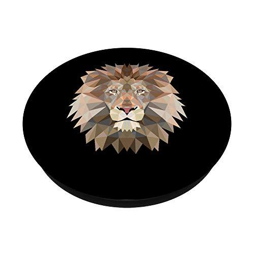 Low Polygon Poly Löwe Löwen Großkatzen und Raubtier Fans PopSockets PopGrip: Ausziehbarer Sockel und Griff für Handys/Tablets mit Tauschbarem Top