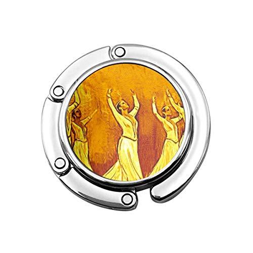 Lindo Perchero Plegable para Mesa, Gancho de Monedero Amarillo Tradicional Los Bailarines armenios Baile marrón
