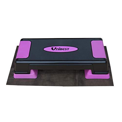 Unibest Aerobic Stepper Steppbrett Fitness Steppbrett höhenverstellbar 70x28cm (schwarz/lila mit Matte)