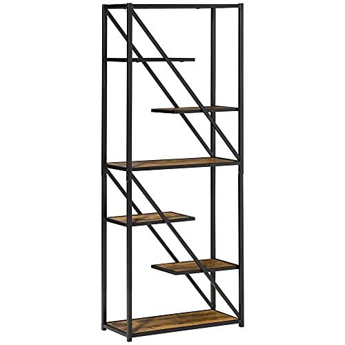 homcom Libreria Moderna a Muro Stile Industriale, Scaffale con Design Asimmetrico a 6 Ripiani, 64x30x165cm, Marrone e Nero
