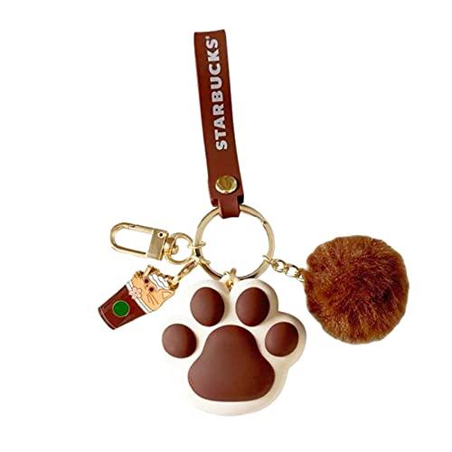 Lilangda Llavero esponjoso con pompón, diseño de huella de gato, ideal como llavero, ideal como regalo de amistad para niñas (rosa, café, verde)