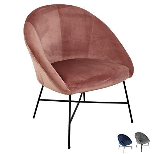 Nimara Samt Sessel | Ohrensessel mit Samt Stoff und Armlehne | Loungesessel mit Comfort und zum relaxen | Qualitätssessel in blau, grau und rosa. | passt gut zum modernen Wohnzimmer (Rosa)