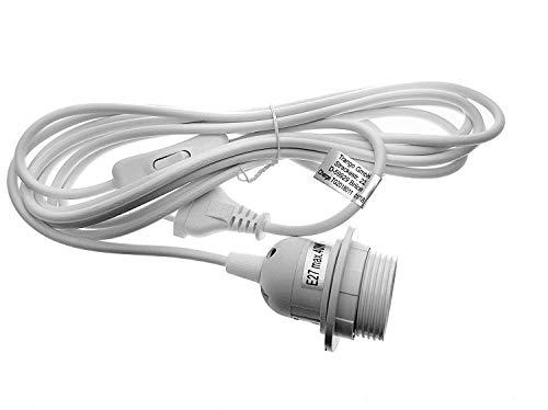 Trango Portalámparas E27 con interruptor, casquillo E27, color blanco, con cable de alimentación de 3,5 m, interruptor TG1011-350 W