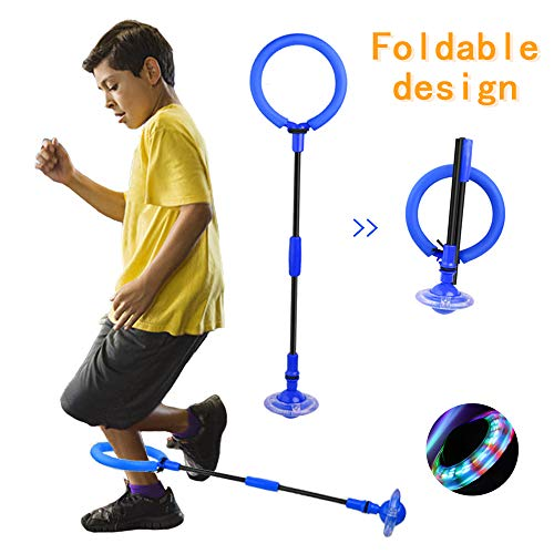 QMOEH Skip Ball, Foldable Ankle Skipit Toy with Backpack, Colorful Flash Skip It Toy for Fitness