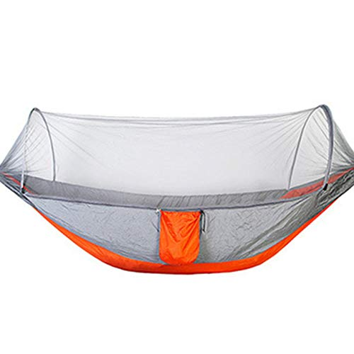 FENGSZ Outdoor Camping Hammock With Mosquito Net Portable Hanging,Load Capacity Up To 200Kg,For Outdoor,Yard,250X120 Orange