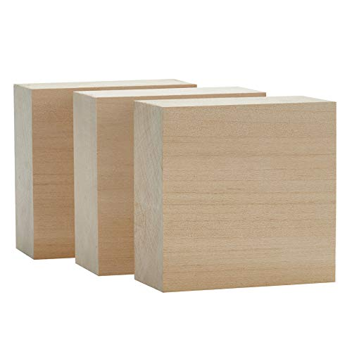 Basswood Carving Blocks Large 4x4x2 inch Wood Blanks DIY Wood Signs for Crafts by Craftiff