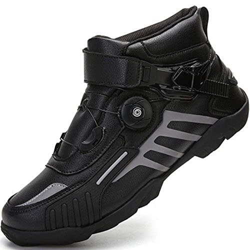 Par de Zapatos de Locomotora 4 Estaciones Mujeres Hombres Botas de Montar en Motocicleta Botas de Carreras de Bicicletas de Carretera Zapatos Deportivos Cortos de Ciclismo MTB,Black-40