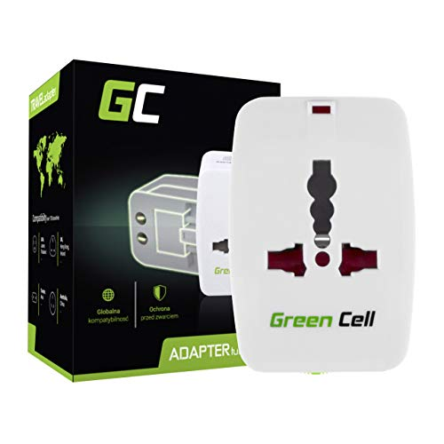 Original Green Cell® Internationaler Reiseadapter Reisenetzteil US UK EU AU Stecker mit Universal-Steckdose, Elegantem Transportetui, Kompatibel im über 150 Länder