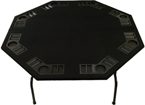 "52"" Black Felt Octagon Poker Table for 8 Player Card Games W/Steel Folding Legs"