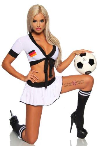 Sexy Damen Fußball Trikot-Set aus Top und Minirock im Nationaltrikot-Look von Deutschland (S/M)