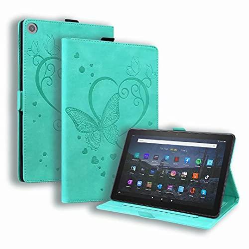 Funda compatible con tablet Kindle Fire HD 10 y 10 Plus (11ª generación, 2021), de piel sintética de ajuste delgado, diseño de mariposas, color verde