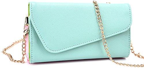 Kroo Clutch Wallet mit Handschlaufe und Umhängeband für Smartphones oder Phablets - frustfreie Verpackung, 6.3 Inch, Blaugrün und Rosa