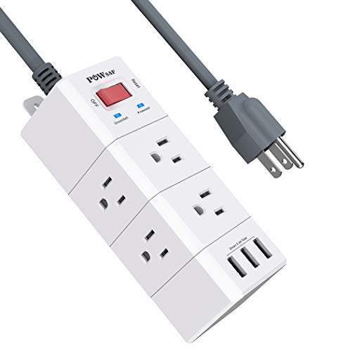 Power Strip, POWSAF Surge Protector with 6-Outlet(3-Sided) and 3 USB Ports(5V/3.4A, 17W), 5-Ft(1250W/10A) Extension Cord, White