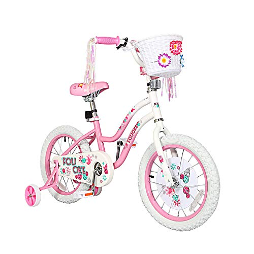 """Princess Kids Bike 12 14 16 18 Inch Boys Girls Bike with Training Wheels Kids Bicycle for Toddlers and Children (16"""", Pink)"""