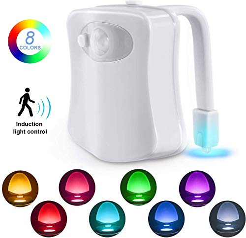 RD MALL Toilet Seat 8 Color LED Sensor Universal Motion-Activated Light Bowl Light Up Sensing Toilet Seat Night Light (Multicolour, Standard)