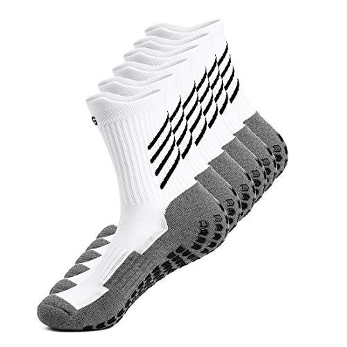 Gogogoal Calcetines deportivos antideslizantes para hombre y mujer, transpirable desodorante Calcetines para fútbol baloncesto running ciclismo trekking yoga, Negro/Blanco (Blanco-3par)