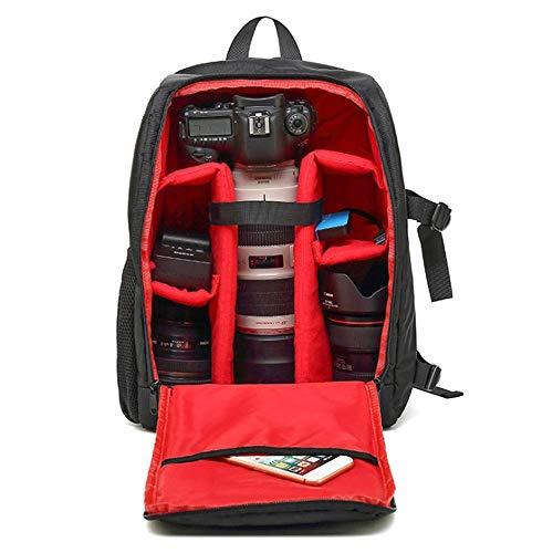 WDXB Kameratasche Rucksack, Wasserdicht Und Stoßfest Außentasche Für Digitale Spiegelreflexkamera Spiegellosen Kamerablitz Oder Anderes Zubehör,Rot