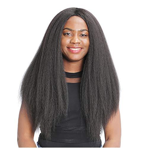 Moent Peluca de pelo largo rizado negro africano microrizado para mujer, aspecto natural, disfraz y vida cotidiana