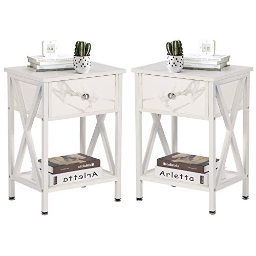 VECELO Modern Versatile Nightstands X-Design Side End Table Night Stand Storage Shelf with Bin Drawer for Living Room Bedroom, Set of 2 (White)