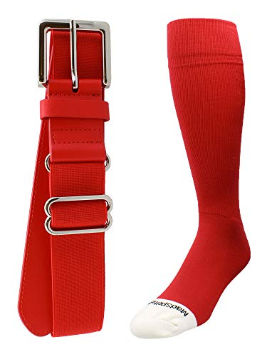 MadSportsStuff Pro Line Baseball-Socken und Gürtel, für Jugendliche und Erwachsene, Jungen, scharlachrot, X-Large