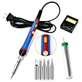 Soldering Iron Kit, 60W 110V Soldering Welding Iron Kit with Ceramic Heater, Portable Soldering Kit with 5pcs Soldering Tips, Stand, Solder Tube, Sponge, for Metal, Jewelry, Electric Repairing, DIY