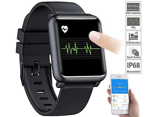 Newgen Medicals Fitnessuhr: Fitness-Uhr mit EKG- & Blutdruckanzeige, Bluetooth, Touchdisplay, IP68 (Smartwatch EKG)
