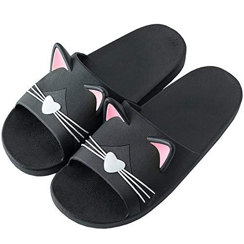 Acfoda Katzen Hausschuhe Frauen Sommer Antirutsch Dusch Badeschuhe Damen Badelatschen Slip On Pantoletten Weiche, 37/38 EU, Schwarz,Herstellergrösse:38/39