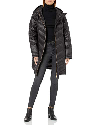 Calvin Klein Women's Hooded Chevron Packable Down Jacket (Standard and Plus), Black, 2X