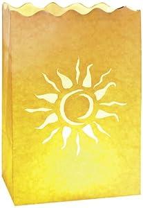 LUMINARIA 8543100 Lichtertüte Sonnenstrahlen klein – 10er Set, Windlicht, Papier, 11 x 16 x 9 cm, Weiß