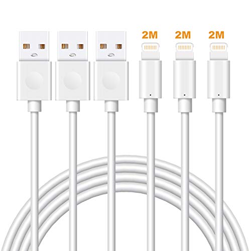 Lightning Cable MFi Certified iPhone Charger Cable, MarchPower 3Pack 2M Extra Long Lightning to USB Cable Fast Charging & Syncing iPhone Cord for iPhone 11 Pro Xs Max X 8Plus 7Plus 6SPlus iPad - White