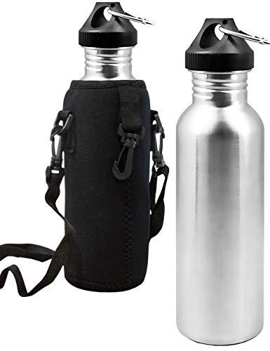 Outdoor Saxx® - roestvrij stalen fles, drinkfles, grote opening, retro design, BPA-vrij, onbreekbaar, 750 ml, neopreen draagtas