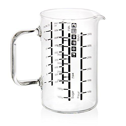 wenco Messbecher/Messkanne aus Glas mit zweisprachigen Skalen und verschiedenen Maßeinheiten, Fassungsvermögen: 0,5 Liter, Glas, Transparent, 531238