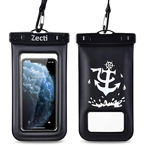 Zecti - Funda impermeable universal para iPhone 11 Pro Max XS Max XR X 8 7 6S Plus Samsung Galaxy S10/S9 Google Pixel 2 HTC hasta 7 pulgadas, IPX8 bolsa seca para teléfono celular (2 unidades)