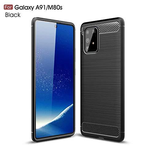 AILZH Handyhülle für Samsung Galaxy A91/Galaxy M80S/Galaxy S10 lite Hülle TPU Weiches Silikon Handyhülle Schutzhülle Anti-Schock Stoßfänger Stoßfest Shockproof bumper Cover Carbon-Faser Hülle(schwarz)