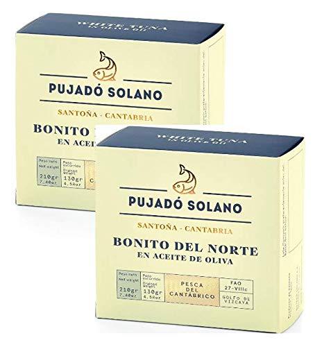 Filetes de Atún Blanco Pujado Solano en Aceite de Oliva Melocotón del Cantábrico - 2 x 280 Gramos (Peso Escurrido 2 x 190 Gramos)