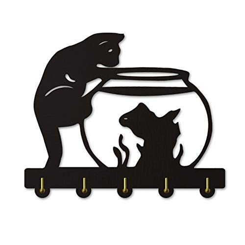 Coat Hooks for Wall Cat and fish tank decorative wall hook cute animal silhouette wooden wall hanger / kitten coat rack / clothing hook / wall hook modern home decoration wall stickers, Black(Long:30c